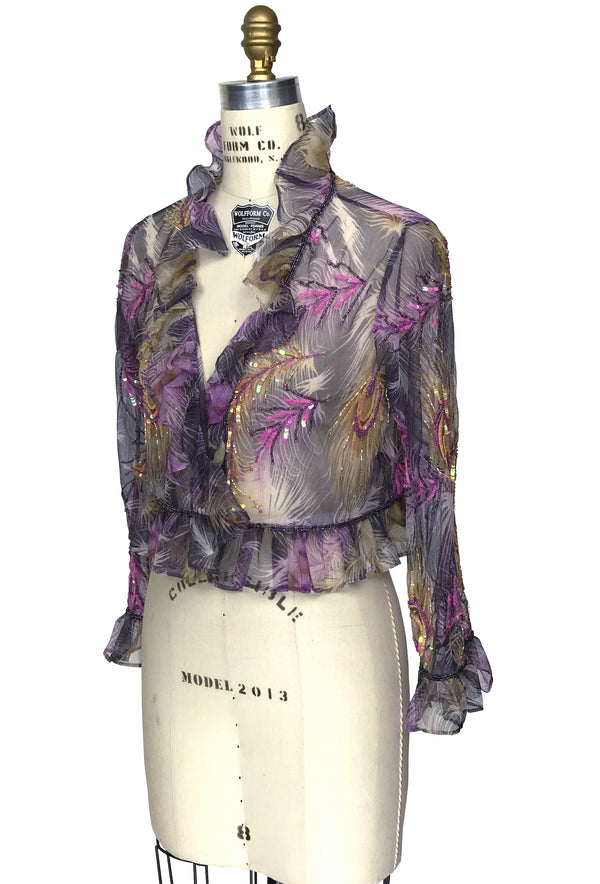 The Victorian Mesh Hand Beaded Romance Ruffle Bolero Jacket - Purple Peacock - The Deco Haus