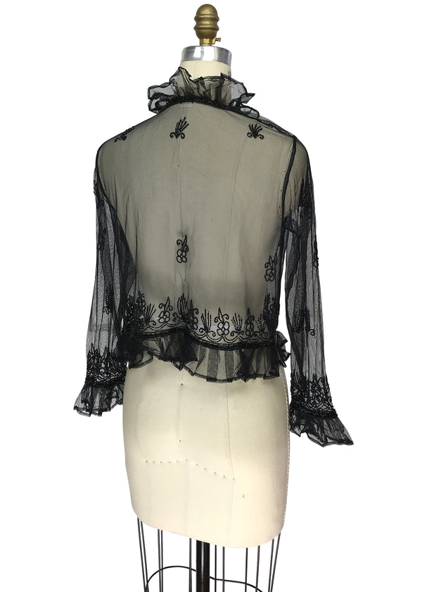 The Victorian Mesh Hand Beaded Romance Ruffle Waist Jacket - Black