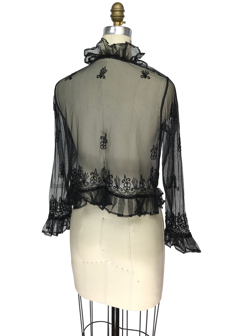 The Victorian Mesh Hand Beaded Romance Ruffle Waist Jacket - Black - The Deco Haus