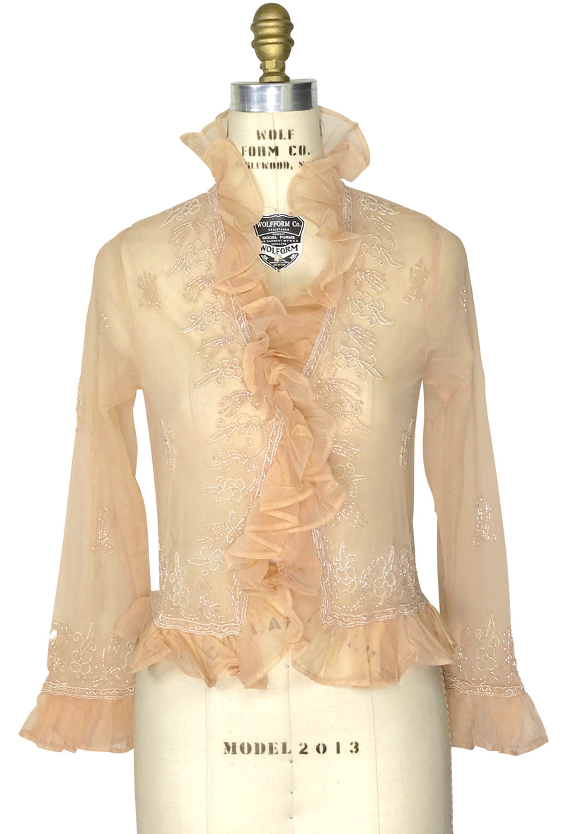 The Victorian Mesh Hand Beaded Romance Ruffle Waist Jacket - Bone on Pastel Peach - The Deco Haus