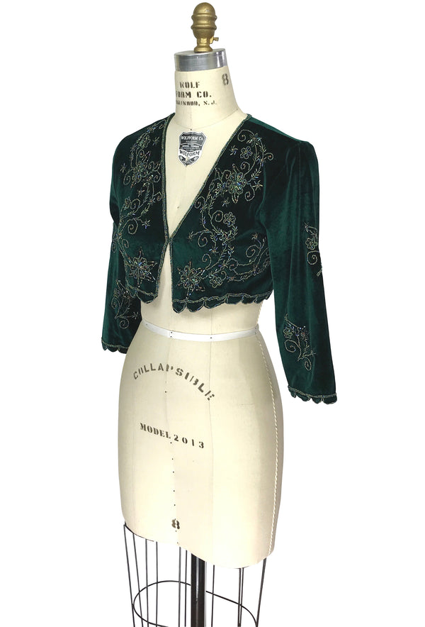 The Victorian Velvet Hand Beaded Bolero 1920s Salon Jacket - Hunter Green