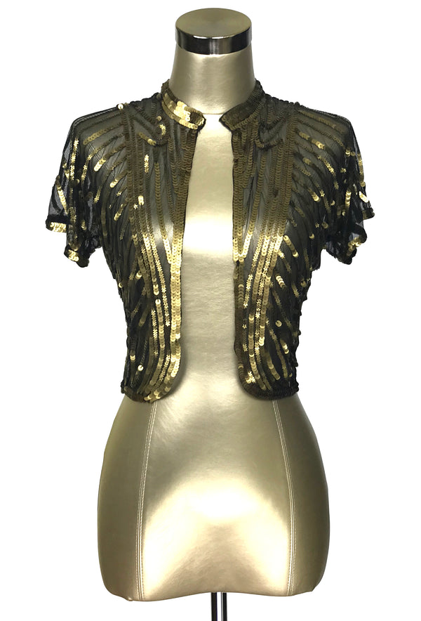 The Vintage Art Nouveau Hand Beaded Sequin Bolero Jacket - Gold on Black - The Deco Haus