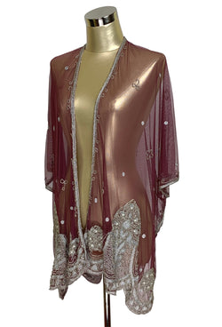 The Vintage Romance Embroidered Pearl Mesh Evening Wrap - Black Cherry Silver - The Deco Haus