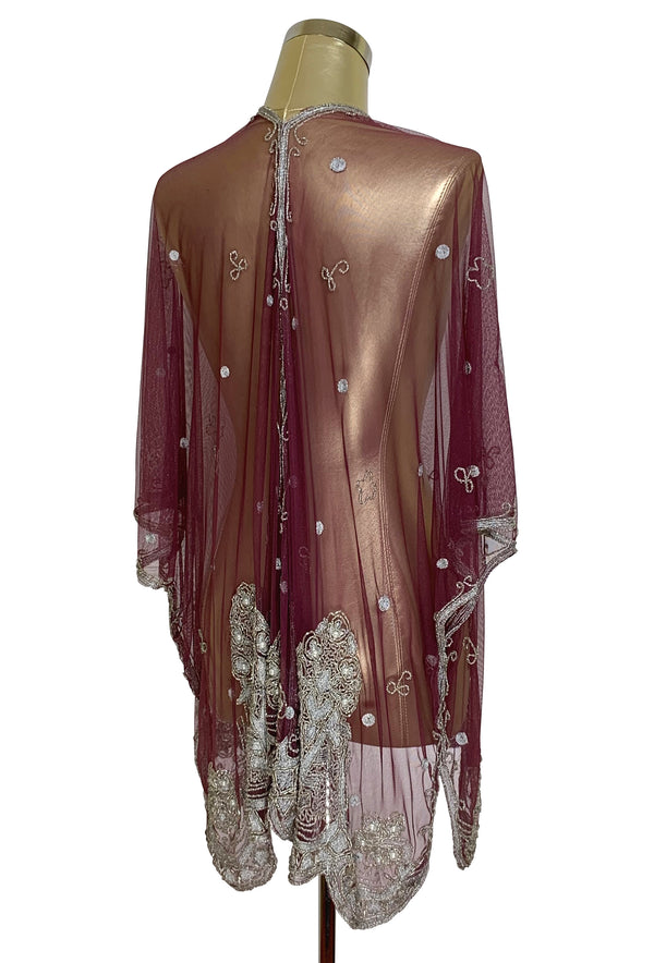 The Vintage Romance Embroidered Pearl Mesh Evening Wrap - Black Cherry Silver