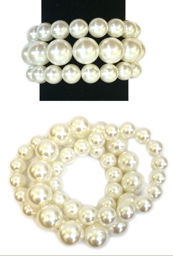 Triple Pearl Stretch Vintage Bracelet Set