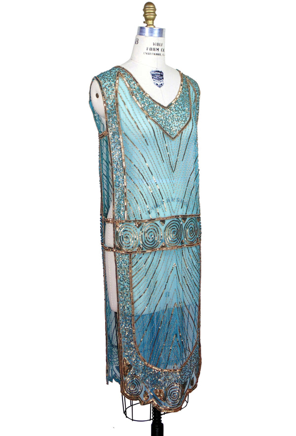 1920's Beaded Vintage Deco Tabard Panel Gown - The Modernist - Gold on Turquoise - The Deco Haus