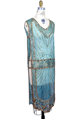1920's Beaded Vintage Deco Tabard Panel Gown - The Modernist - Gold on Turquoise