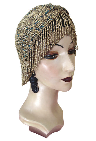 1920s Hand Beaded Gatsby Flapper Party Cap Hat - Short Fringe - Turquoise Gold - The Deco Haus