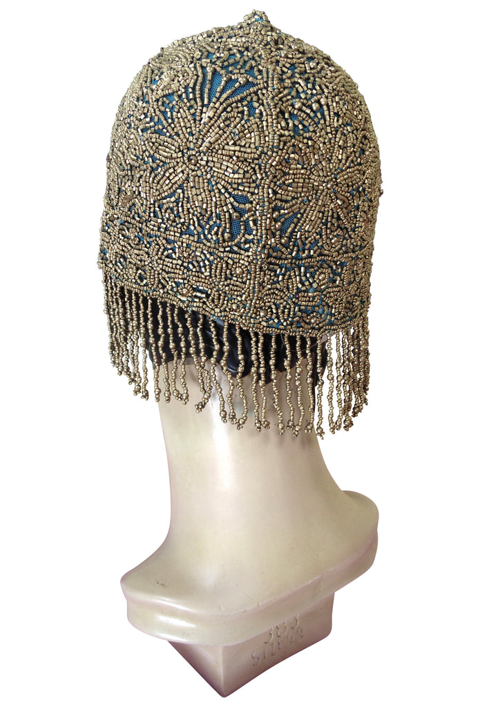 1920s Hand Beaded Gatsby Flapper Party Cap Hat   Short Fringe   Turquoise  Gold   The