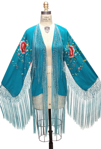 The 1920's Silk Embroidered Piano Shawl Jacket - Turquoise
