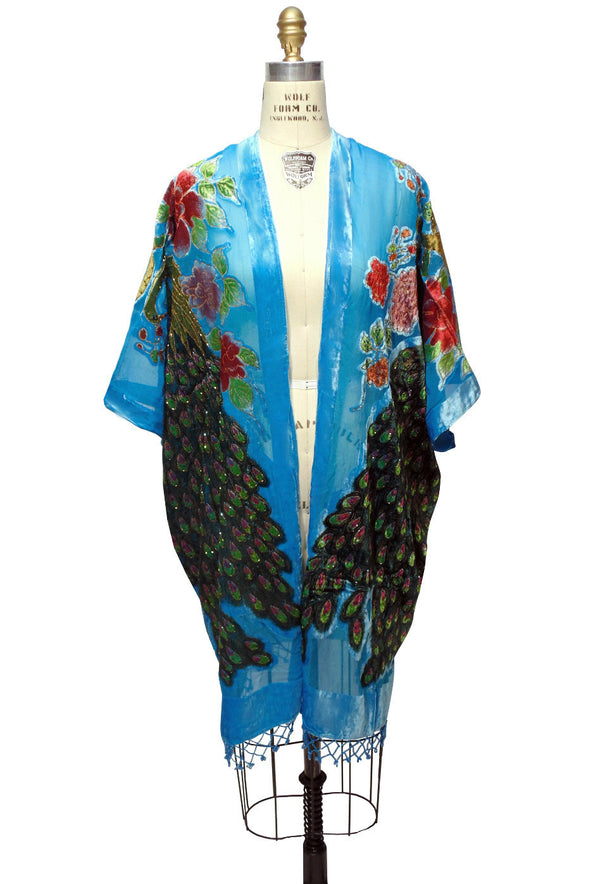 The Art Deco Peacock Burnout Velvet Beaded Evening Wrap - Turquoise Blue - The Deco Haus