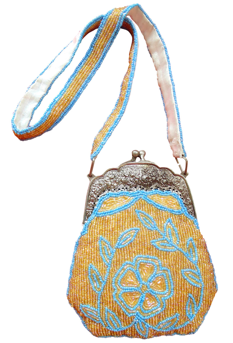 1920's Inspired Gatsby Beaded Fringe Evening Purse - Cream Gold Turquoise - The Deco Haus