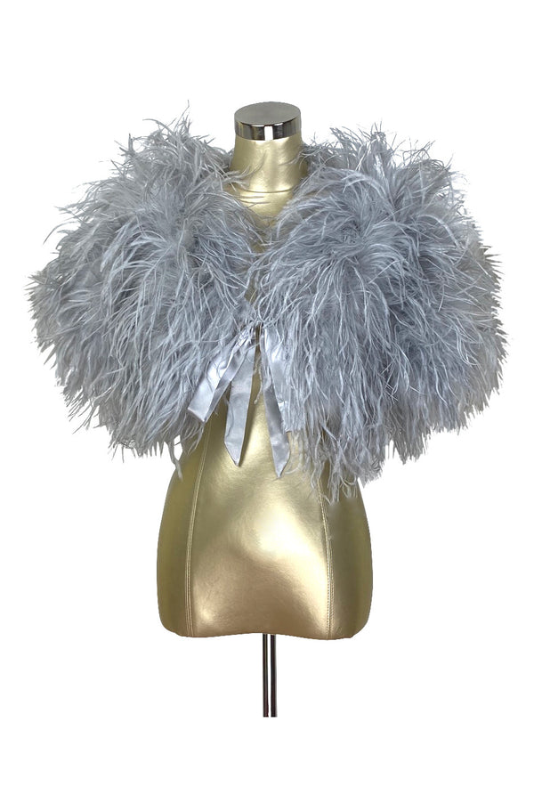 Ultra Ostrich Hollywood Glamour 1930s Vintage Style Harlow Wrap - Phantom Grey - The Deco Haus