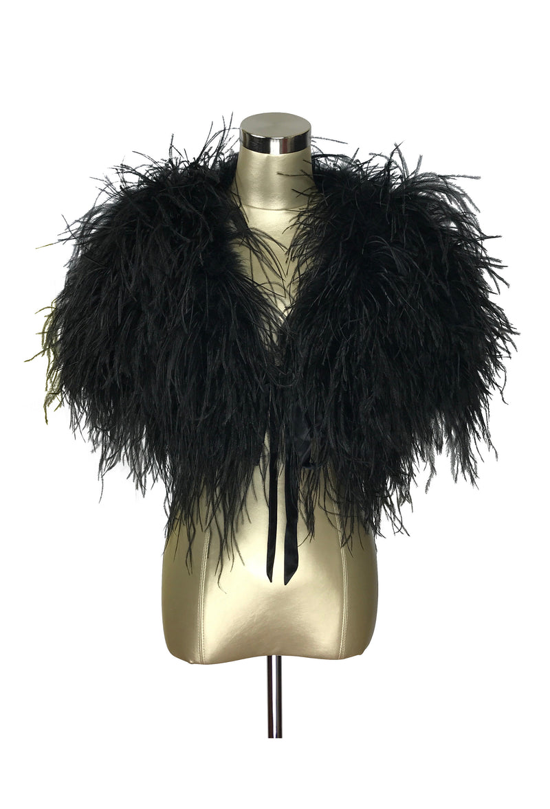 Ultra Ostrich Hollywood Glamour 1930s Vintage Style Harlow Wrap - Ebony Black - The Deco Haus