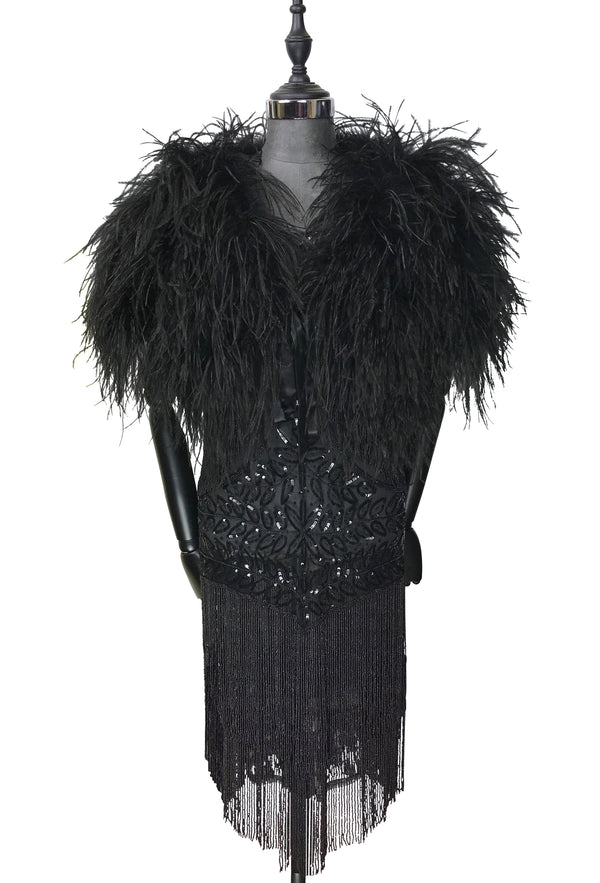 Ostrich Hollywood Glamour 1930s Vintage Style Harlow Wrap - Ebony Black