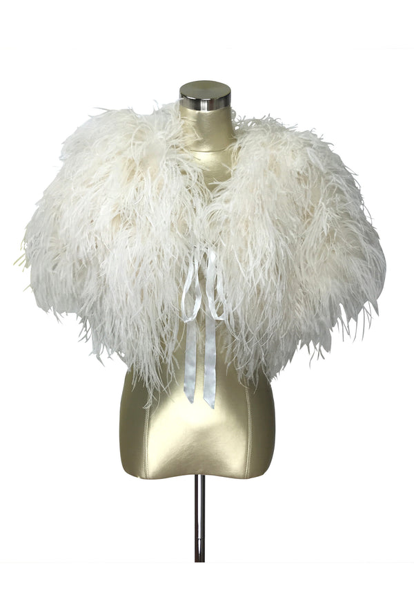 Ultra Ostrich Hollywood Glamour 1930s Vintage Style Harlow Wrap - Ivory White