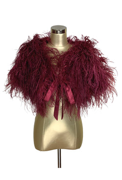 Ultra Ostrich Hollywood Glamour 1930s Vintage Style Harlow Wrap - Blood Red - The Deco Haus