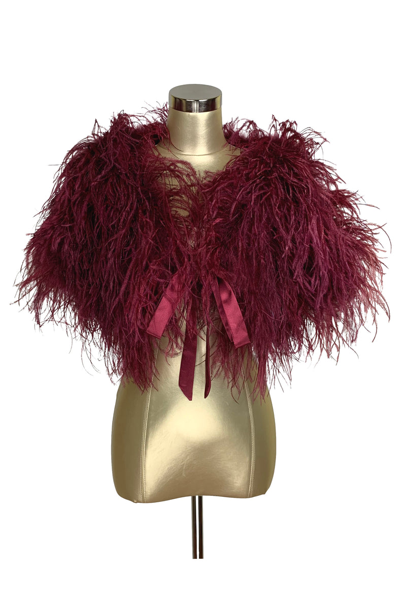 Ultra Ostrich Hollywood Glamour 1930s Vintage Style Harlow Wrap - Blood Red
