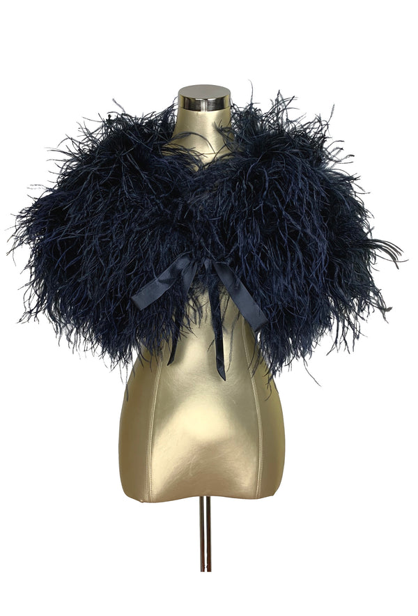 Ultra Ostrich Hollywood Glamour 1930s Vintage Style Harlow Wrap - Midnight Blue