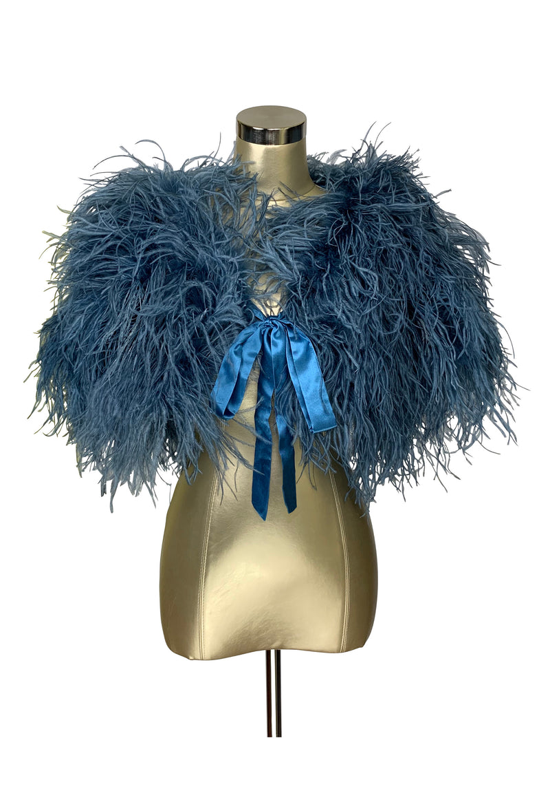Ultra Ostrich Hollywood Glamour 1930s Vintage Style Harlow Wrap - Prussian Blue - The Deco Haus