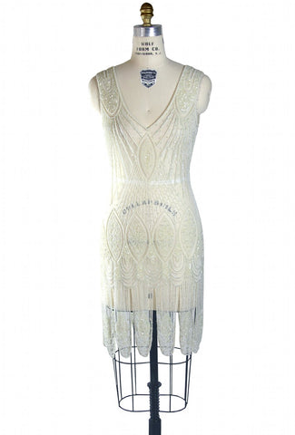 1920's Flapper Carwash Hem Beaded Party Dress - The Starlet - Crystal - The Deco Haus