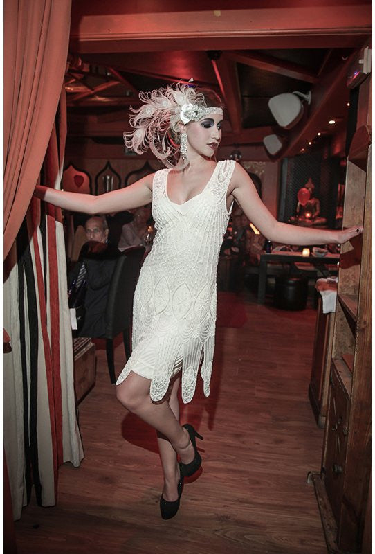 Vintage Inspired Wedding Dresses 1920s Flapper Carwash Hem Beaded Party Dress - The Starlet - Crystal $129.95 AT vintagedancer.com