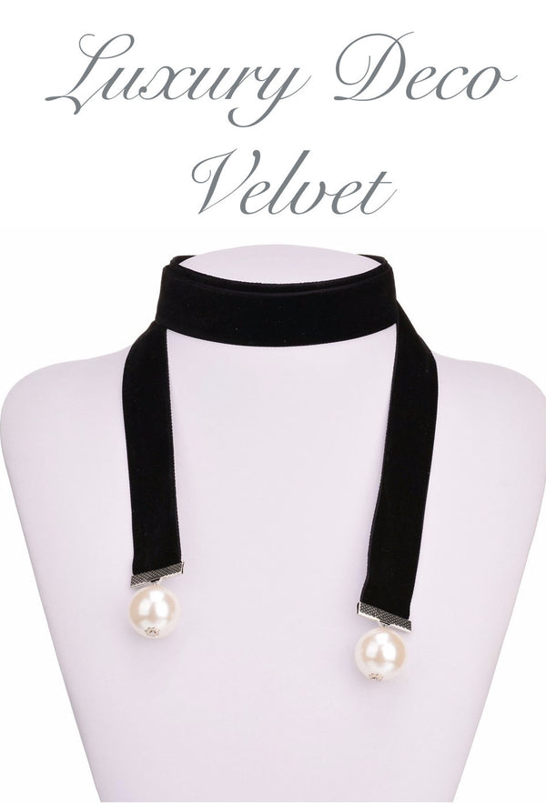 Black Deco Velvet Pearl Ribbon Long Deco Choker Tie Necklace - The Deco Haus