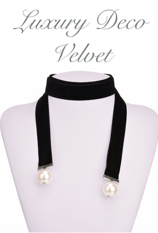 Black Deco Velvet Pearl Ribbon Long Choker Tie Necklace