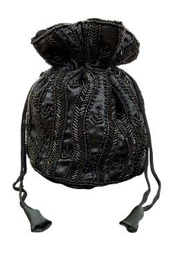 1920s Handbags, Purses, and Shopping Bag Styles DECO ESSENTIAL - VICTORIAN BEADED SATIN POUCH BAG - BLACK $34.95 AT vintagedancer.com