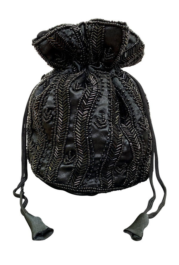 Deco Essential - Victorian Beaded Satin Pouch Bag - Black