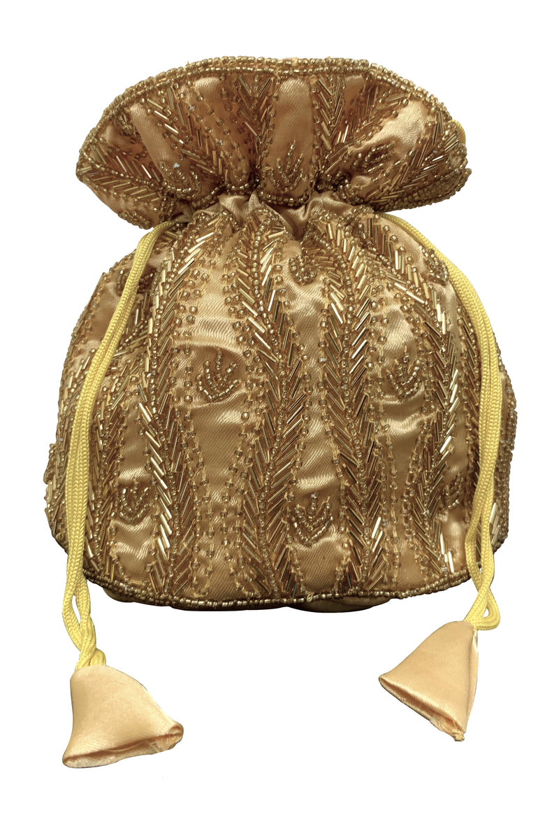 Deco Essential - Victorian Beaded Satin Pouch Bag - Gold - The Deco Haus