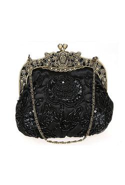 Vintage Victorian Beaded Satin Evening Purse - Black - The Deco Haus