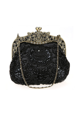 Vintage Victorian Beaded Satin Evening Purse - Black