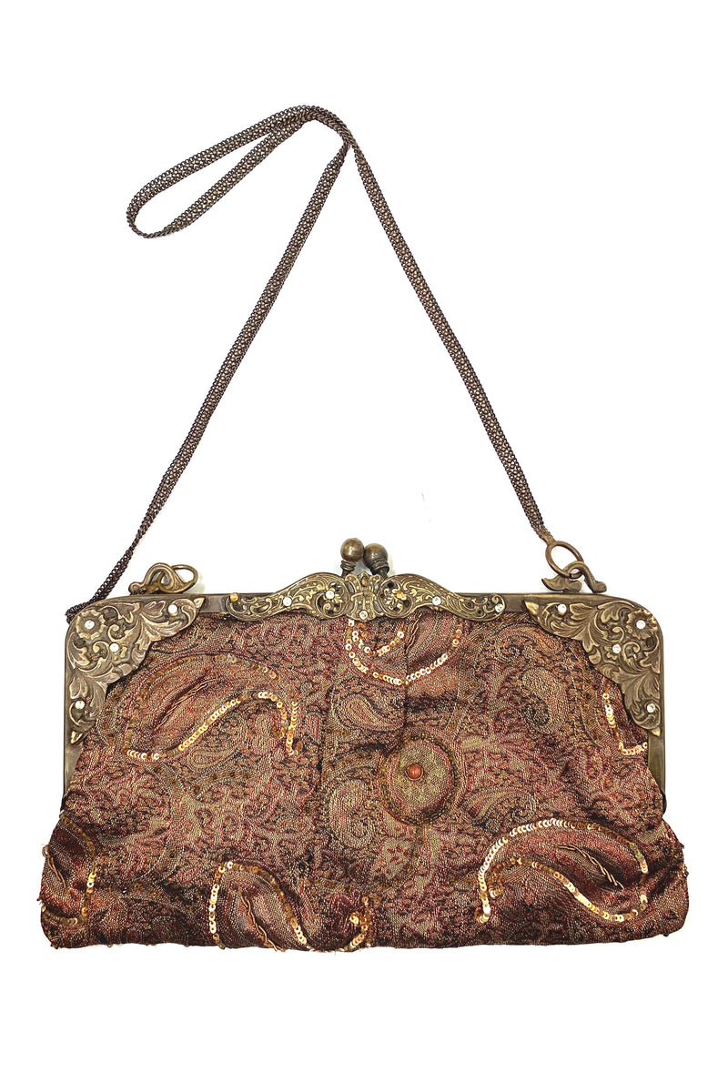 Victorian Inspired Vintage Brocade Evening Clutch Purse - Copper Brown