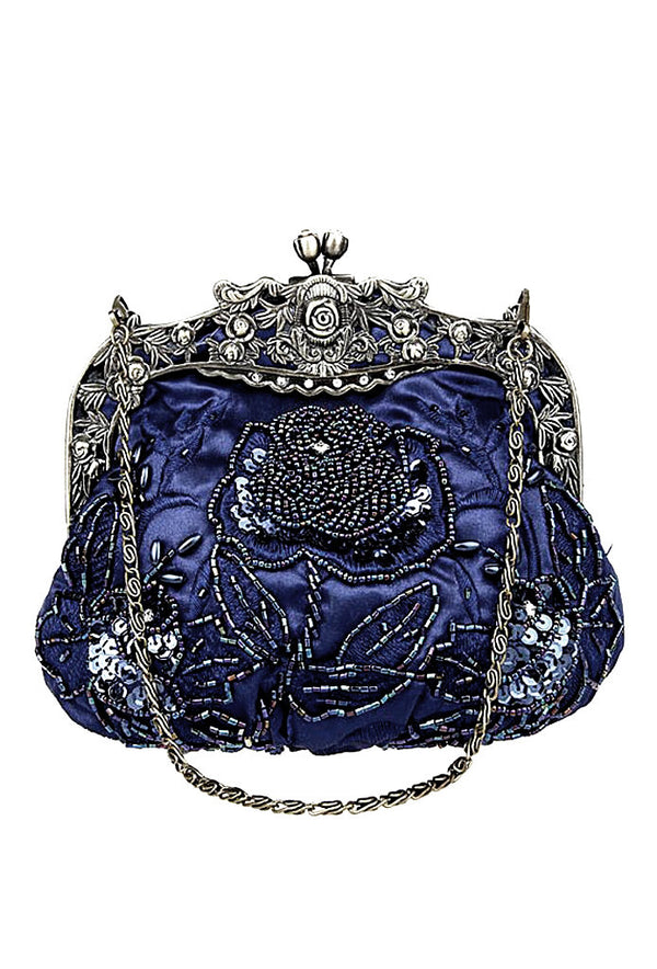 Vintage Victorian Beaded Satin Evening Purse - Midnight Blue - The Deco Haus
