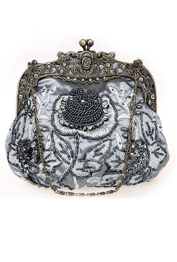 Vintage Victorian Beaded Satin Evening Purse - Sterling - The Deco Haus