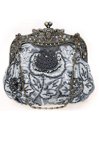 Vintage Victorian Beaded Satin Evening Purse - Sterling