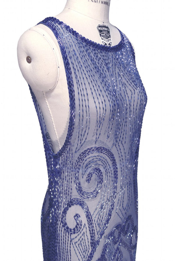 20's Vintage Beaded Mesh Gatsby Gown - The Vignette - Cobalt - The Deco Haus
