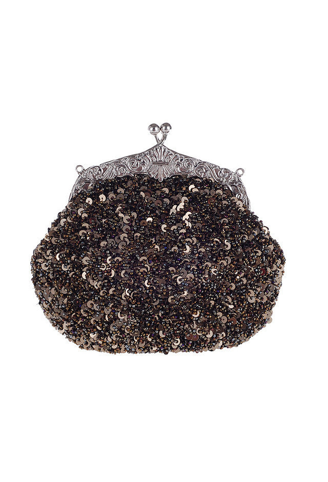 1920's Inspired Gatsby Beaded Sequin Glamour Purse - Metallic Cocoa Brown - The Deco Haus
