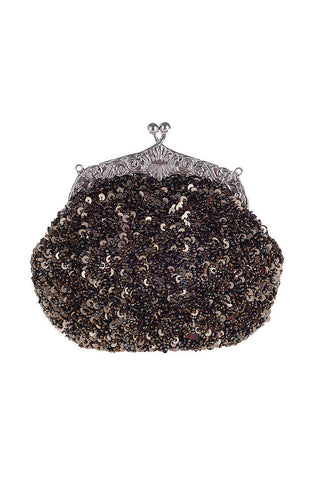 1920's Inspired Gatsby Beaded Sequin Glamour Purse - Metallic Cocoa Brown