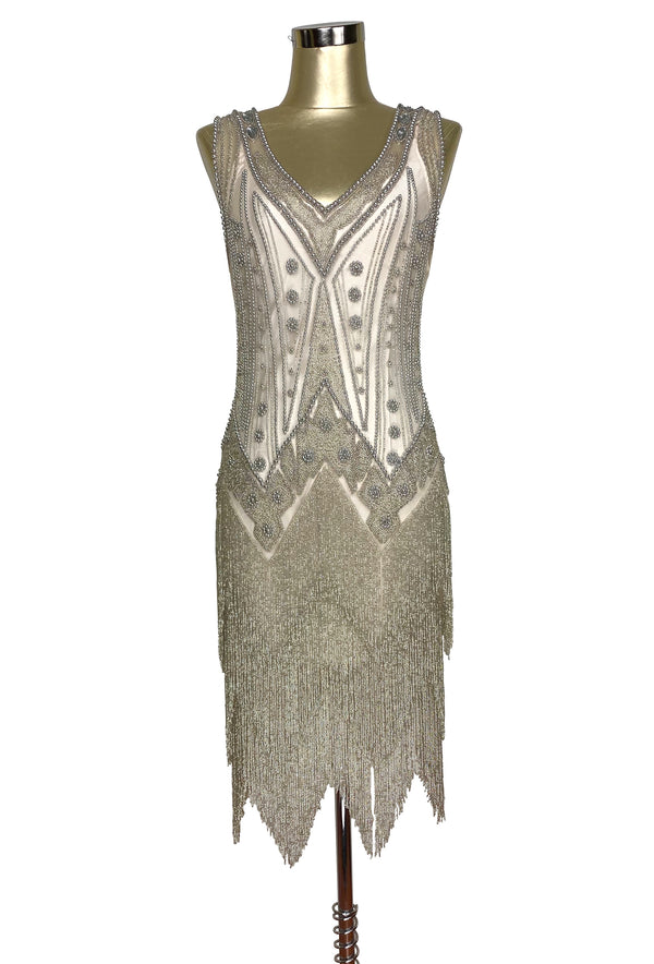 Vintage 1920s Art Deco Beaded Layered Fringe Gown - The De Luxe - Champagne Silver