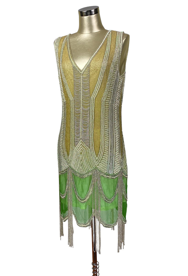 Vintage 1920s Art Deco Beaded Scallop Fringe Dress - The Countess - Green Pearl - The Deco Haus