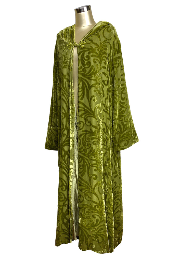 Vintage Art Nouveau Velvet Burnout Evening Hooded Jacket - Chartreuse Green