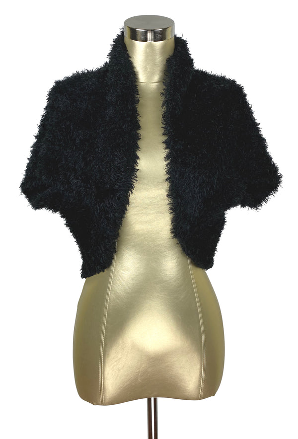 Vintage Luxe Eyelash Knit Bolero Shrug Hepburn Jacket - Jet Black - The Deco Haus