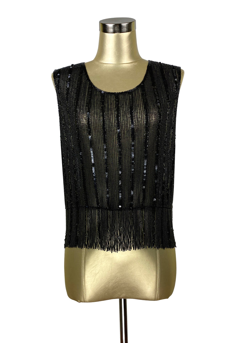 Vintage Luxe Mod Go Go Beaded Fringe Couture Evening Top - Black Satin