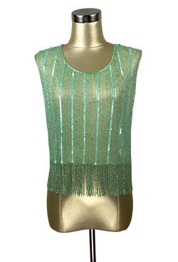 Vintage Luxe Mod Go Go Beaded Fringe Couture Evening Top - Deco Green - The Deco Haus