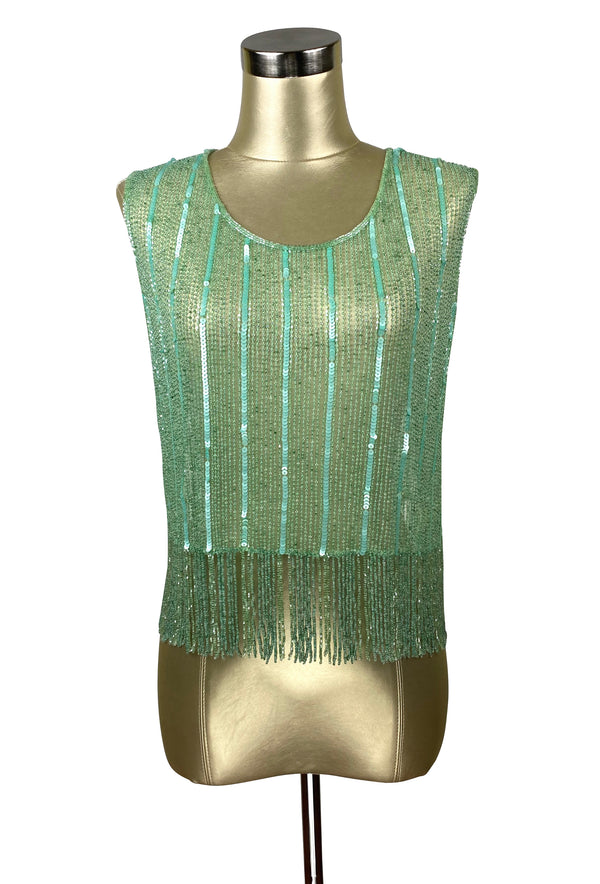 Vintage Luxe Mod Go Go Beaded Fringe Couture Evening Top - Deco Green