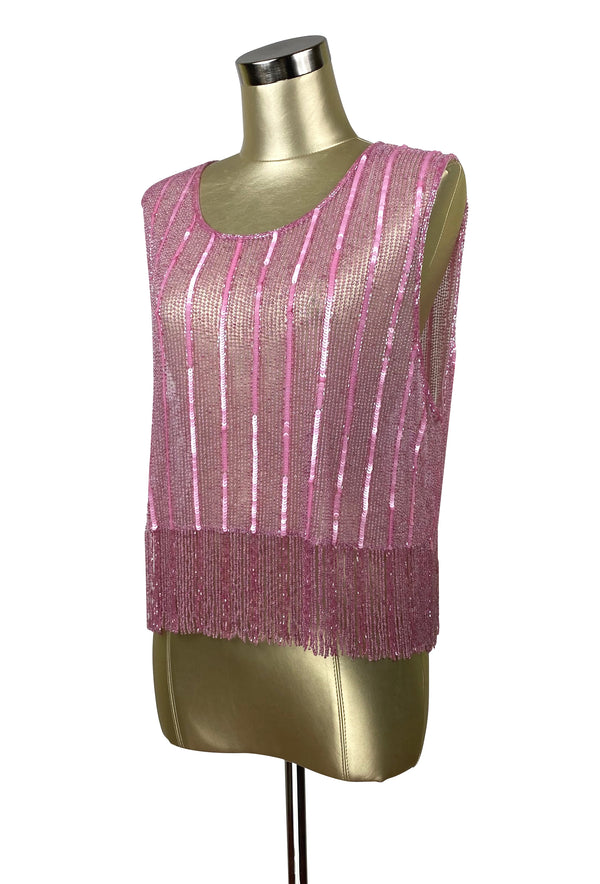 Vintage Luxe Mod Go Go Beaded Fringe Couture Evening Top - Deco Pink