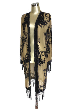 Vintage Silk Velvet 1920's Beaded Fringe Scarf Coat - Victorian Chandelier - Coffee