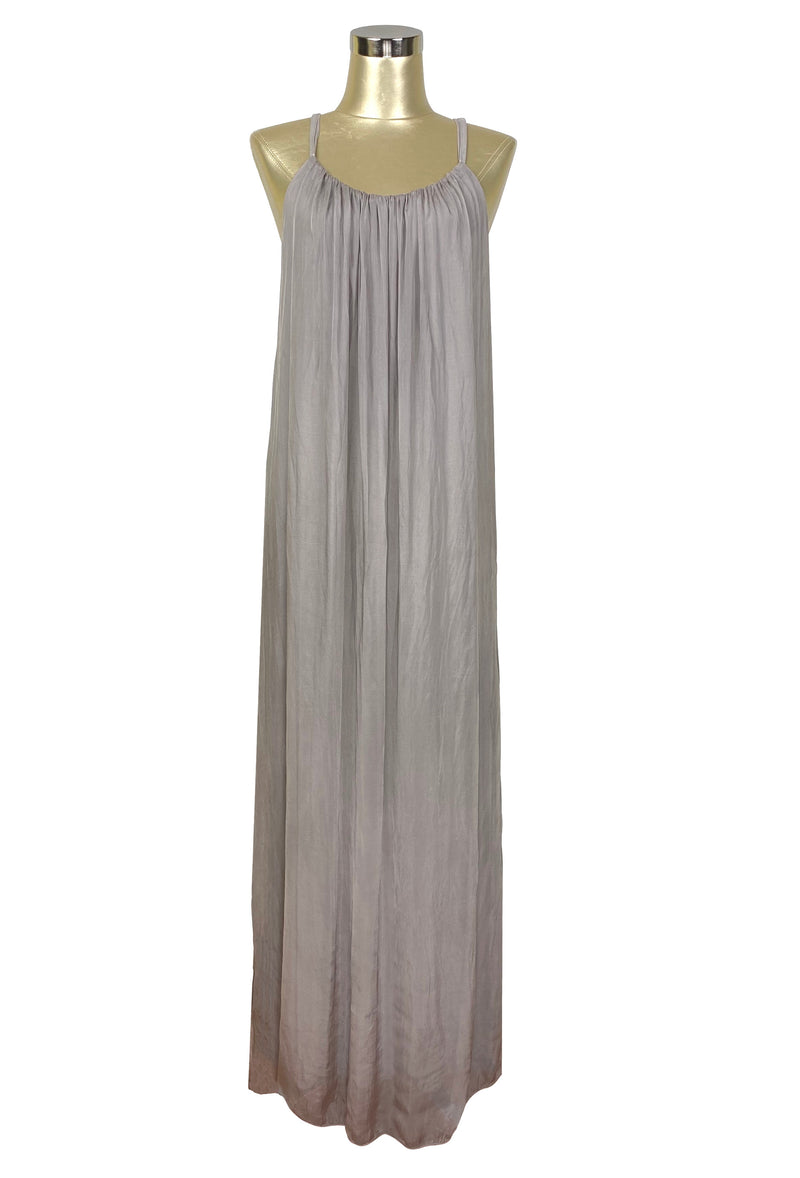 Vintage Style Crinkle Silk Chiffon Grecian Glamour Slip Dress - Champagne Taupe - The Deco Haus